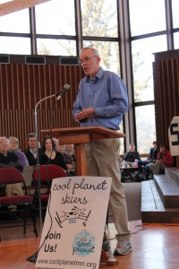 Bill McKibben spoke to a full Weyerhaeuser Chapel February 21.  Photo by Erin Newton '14.