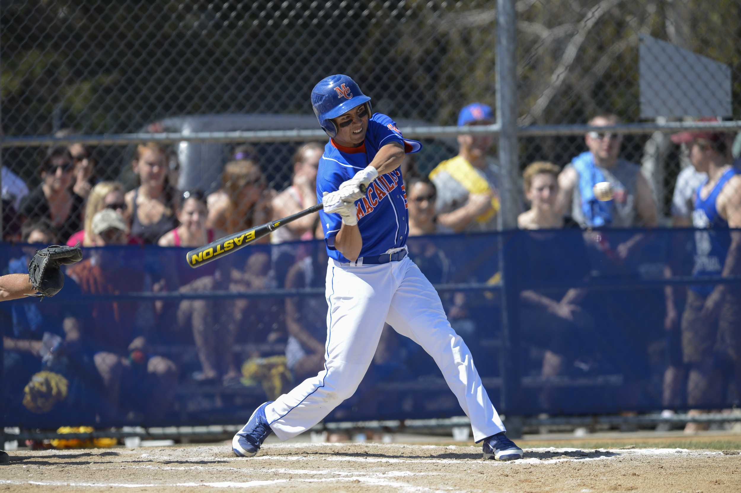 Nick Mar '15 (Sacramento, CA) takes a cut against Hamline last season.  Mar was fifth on the team last year with a .303 batting average as a freshman.  He was the team's opening day cleanup hitter and starting centerfielder against #21 St. Scholastica.  Photo Credit: Christopher Mitchell / SportShotPhoto.com