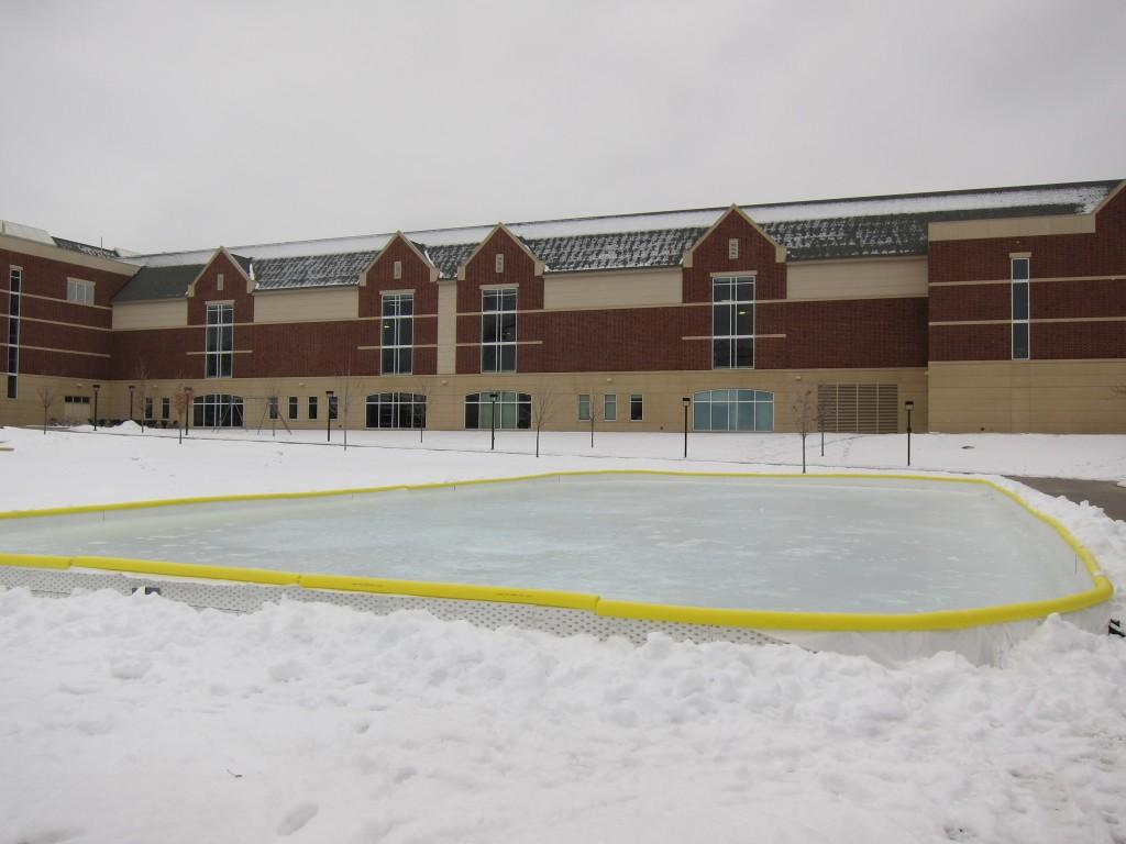 The ice rink is maintained by student volunteers who shovel snow from the surface and cover the rink with new ice each week. Photo: Naomi Guttman
