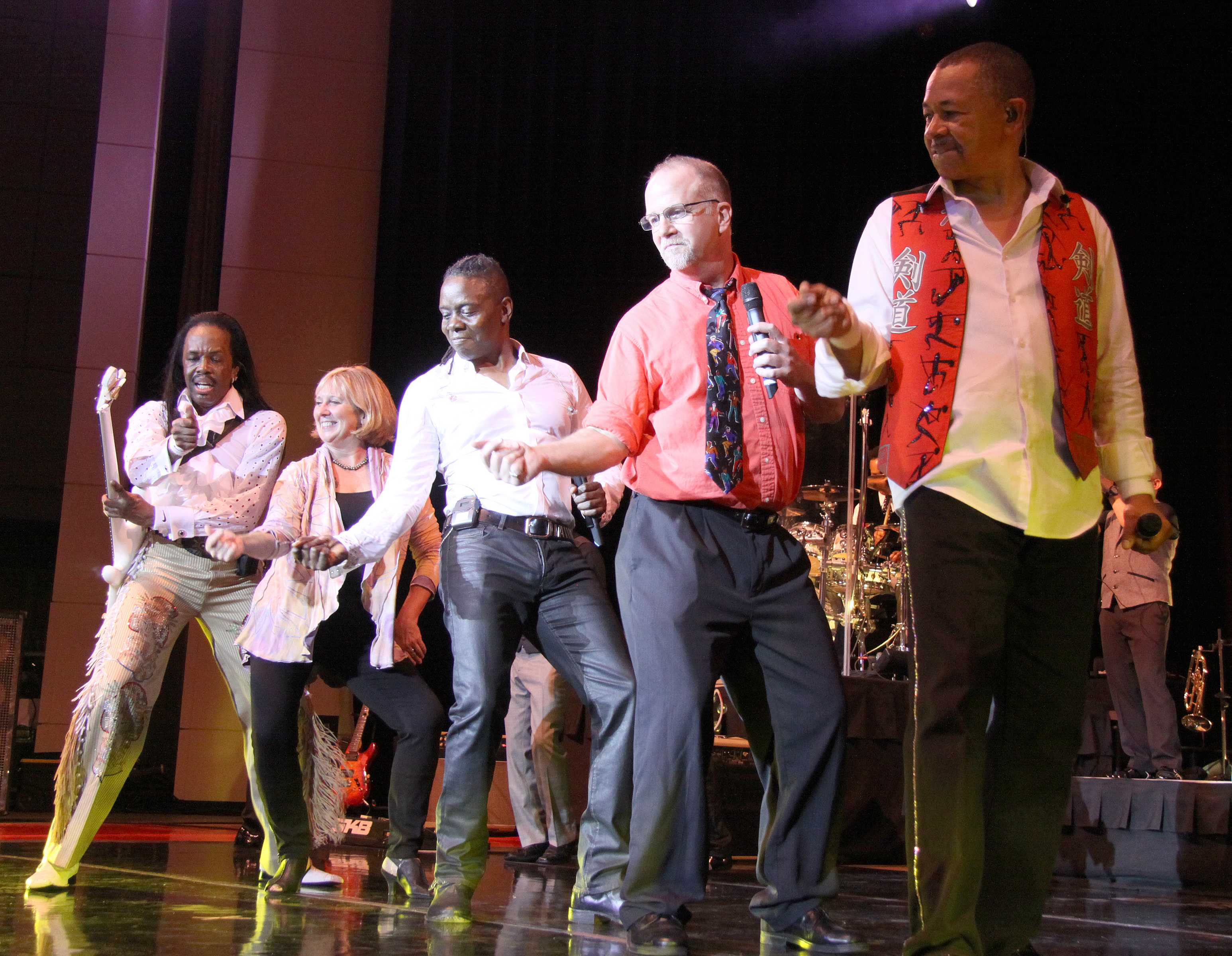 Professor George Leiter performs onstage with Earth, Wind and Fire. In addition to teaching math, Leiter plays rock music every week.  (Photo courtesy of Leiter.)