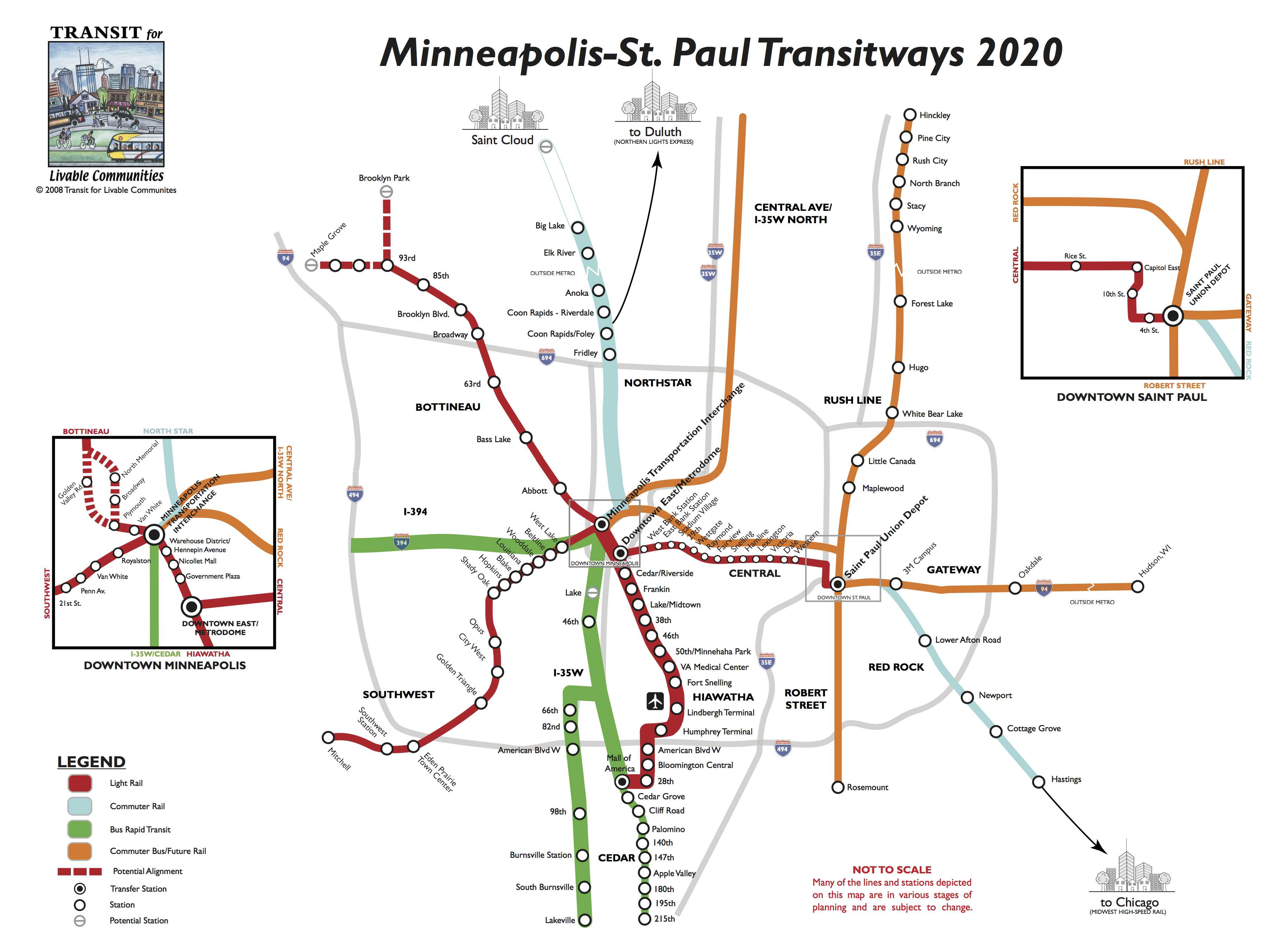Map of proposed and planned transitways in the Twin Cities region.  From Transit for Livable Communities.