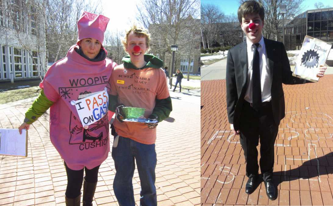 Left: Shaina Kasper '13 and Rick Beckel '15 seek student signatures on a petition asking Macalester to divest from fossil fuels. Right: Andy Timm '15 dressed as a mock BP executive during Fossil Fools Day.  More than 950 students signed a petition asking for divestment. Students dressed in costumes and handed out stickers and pins throughout the day. Photos courtesy of Fossil Free Macalester.