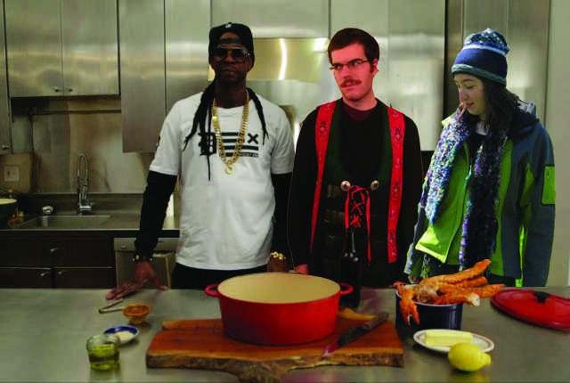Nate Williams, Marian Herzog and their friend and kitchen partner 2Chainz prepare to make Beer Steamed Snow Crab Legs.