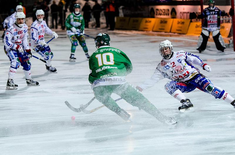 Swedish professional bandy teams Hammarby and Kungälv compete in Stockholm. Bandy is one of two demonstration sports for the 2014 Olympic Games. Photo courtesy of Jens Söderblom.