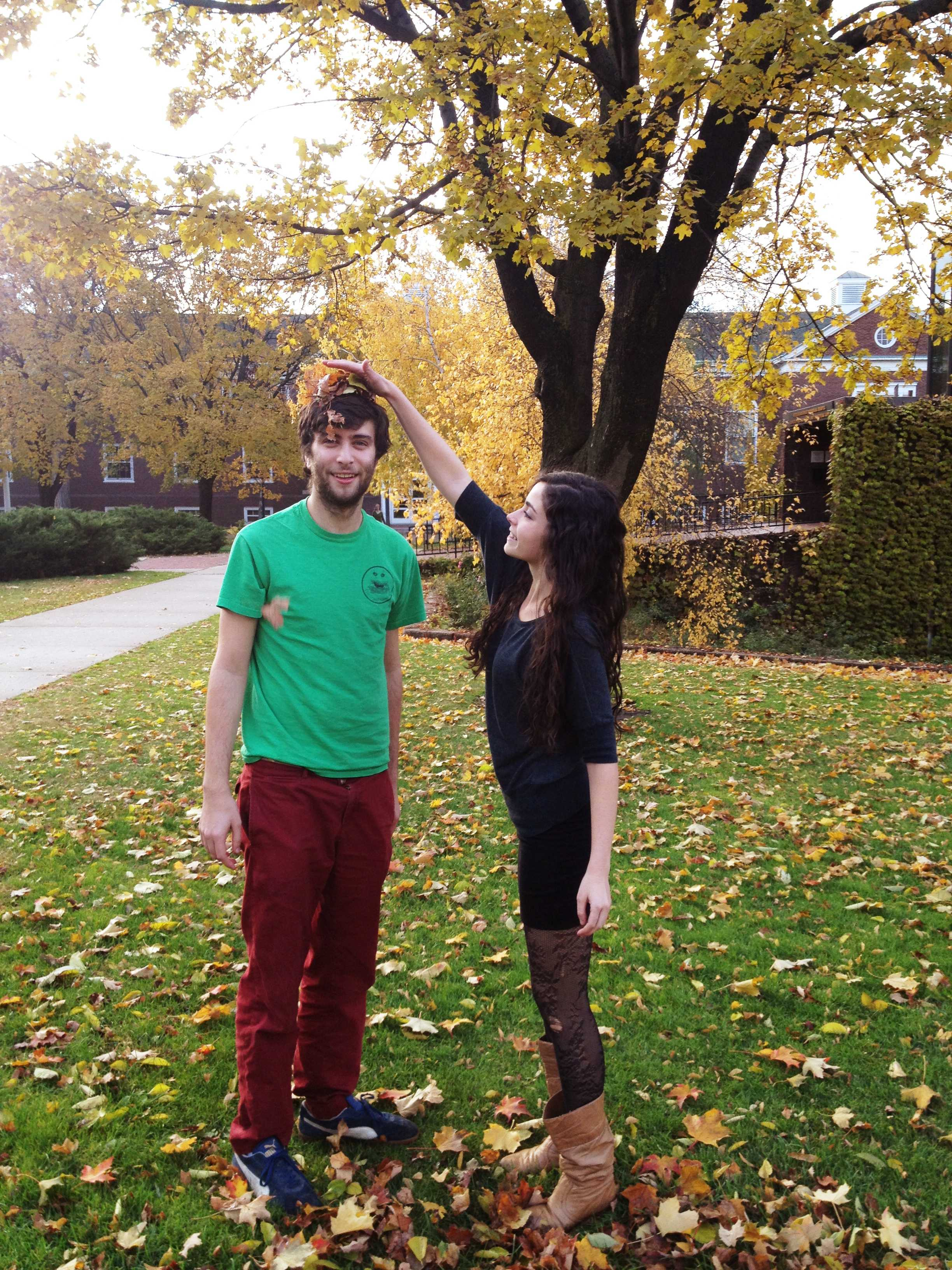 Joe Evers '14 (left) and Michelle Einstein '14 (right) are the editors-in-chief of Macalester's only humorous publication, The Hegemonocle. Though most of their time is taken up by being hilarious, they spend what little free time they do have perfecting their other art: interpretive dance. Photo by Sophie Nikitas '14.