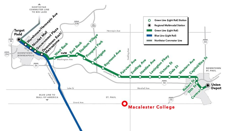 The Green Line, slated to open four months from today, will provide direct service between Downtown St. Paul and Downtown Minneapolis. The Snelling Avenue stop will allow for easy access between the line and Macalester. Graphics courtesy of MetroTransit and Naomi Guttman '16.