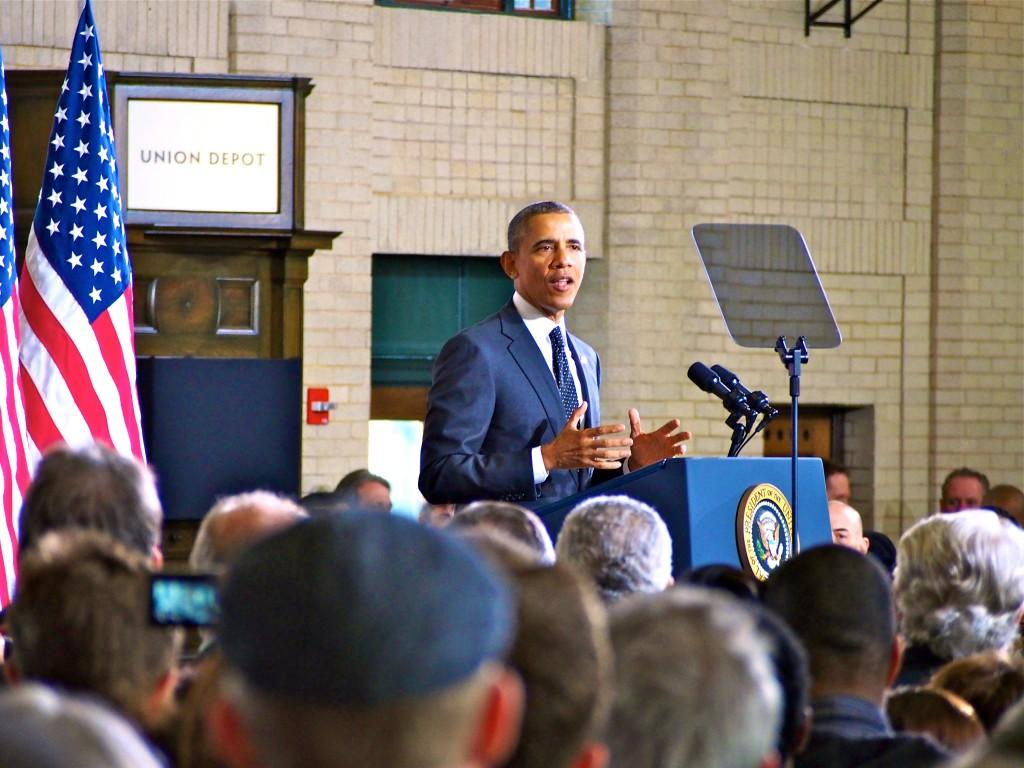 President+Barack+Obama+speaking+to+a+crowded+Union+Depot+on+Wednesday%2C+Feb.+26.+Roughly+1%2C300+were+in+attendance+and+heard+the+president%E2%80%99s+announcement+of+competitive+federal+grants+for+infrastructure+development+in+cities+around+the+United+States.+Photo+by+Jesse+Meisenhelter+
