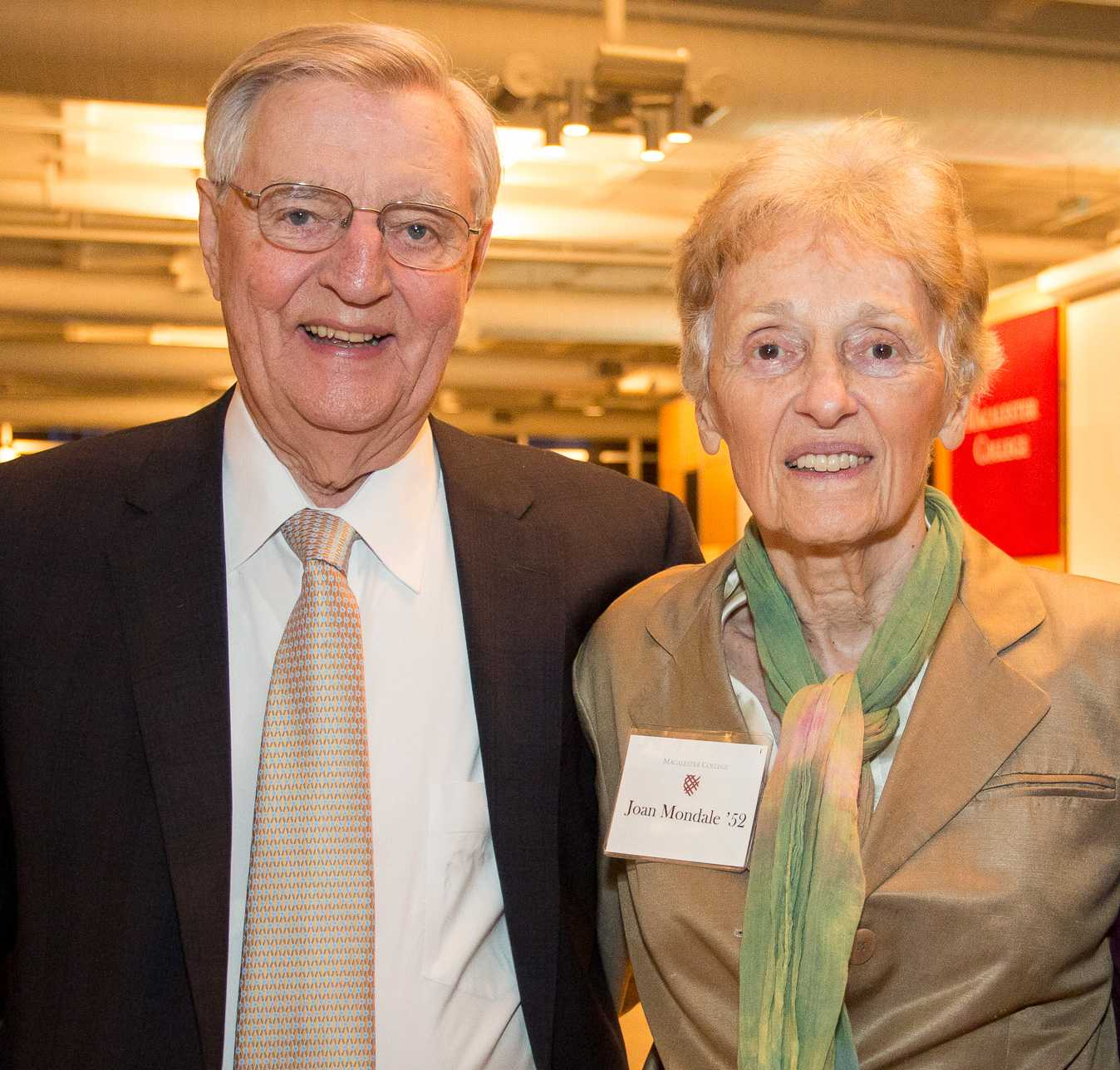 Joan Mondale '52 was a strong advocate for the arts at Macalester. To honor her memory, the Macalester Concert Choir will perform at her memorial service. Photos courtesy of Macalester College.