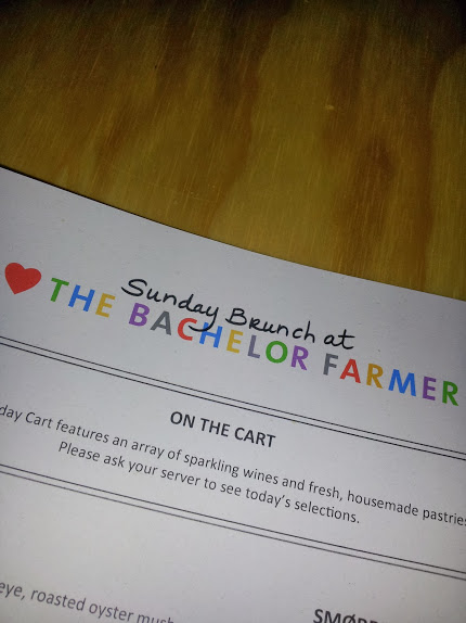The Sunday Brunch Menu from 'The Bachelor Farmer'. The restaurant opened in 2011 and is owned by Eric and Andrew Dayton.  The Bachelor Farmer serves fresh food that honors Minnesota's Nordic heritage. Sunday brunch runs from 10am until 2pm.