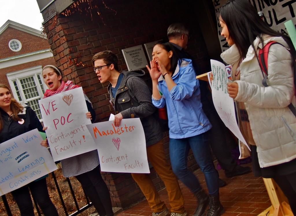 Photos+from+a+rally+held+outside+the+CRSL+on+Thursday+afternoon.+Keith+Ellison+spoke%2C+and+urged+Macalester+administration+to+%22stay+neutral%22+as+contingent+organize.+Photos+by+Jesse+Meisenhelter+%2716.
