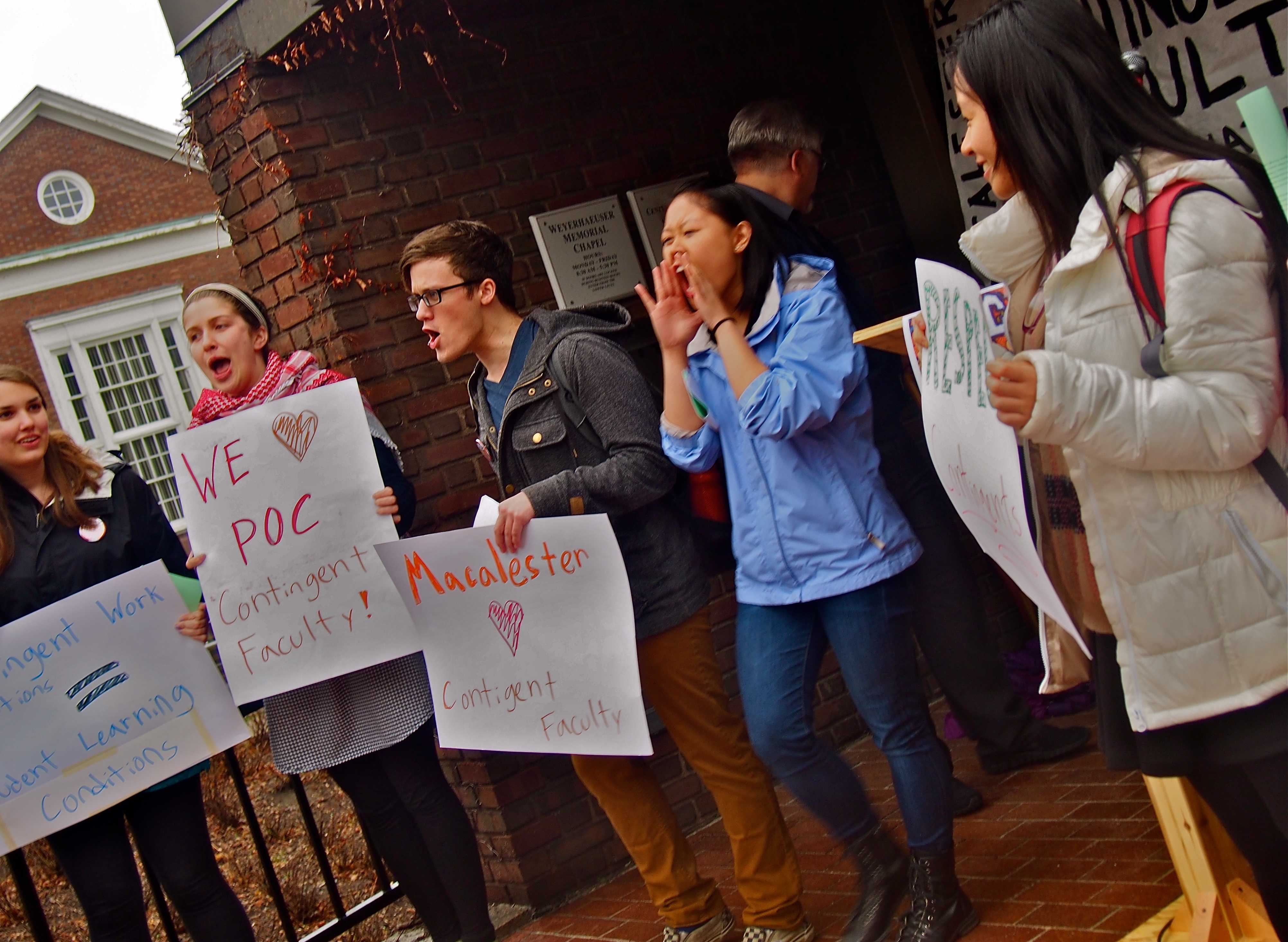 Photos from a rally held outside the CRSL on Thursday afternoon. Keith Ellison spoke, and urged Macalester administration to