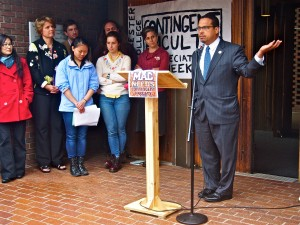 Congressman Keith Ellison (DFL MN-5) speaks at a press conference announcing that contingent faculty had filed for a union election. The college recently took a stance against that union in a memo sent to tenured and tenure-track faculty.