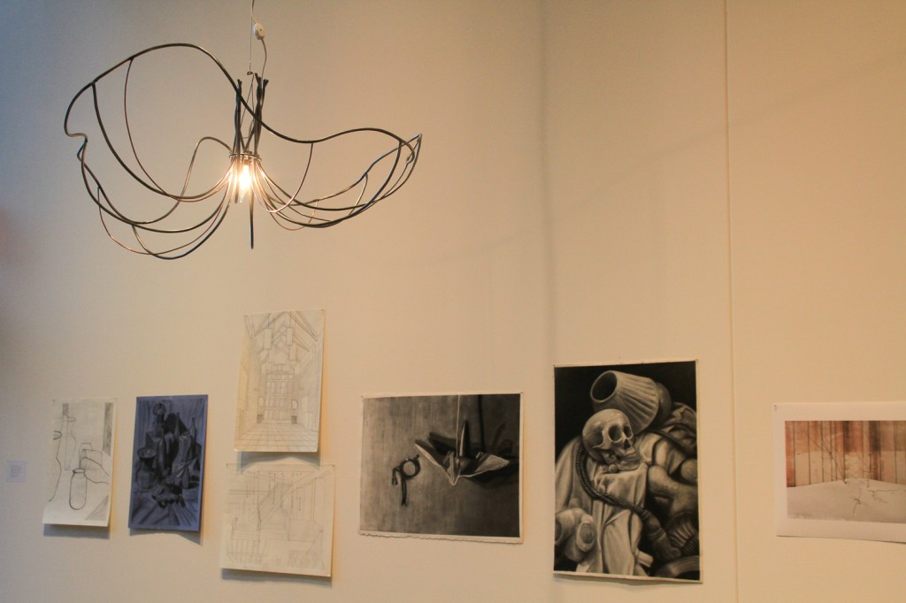 Student art works on display in the Law Warschaw Gallery.