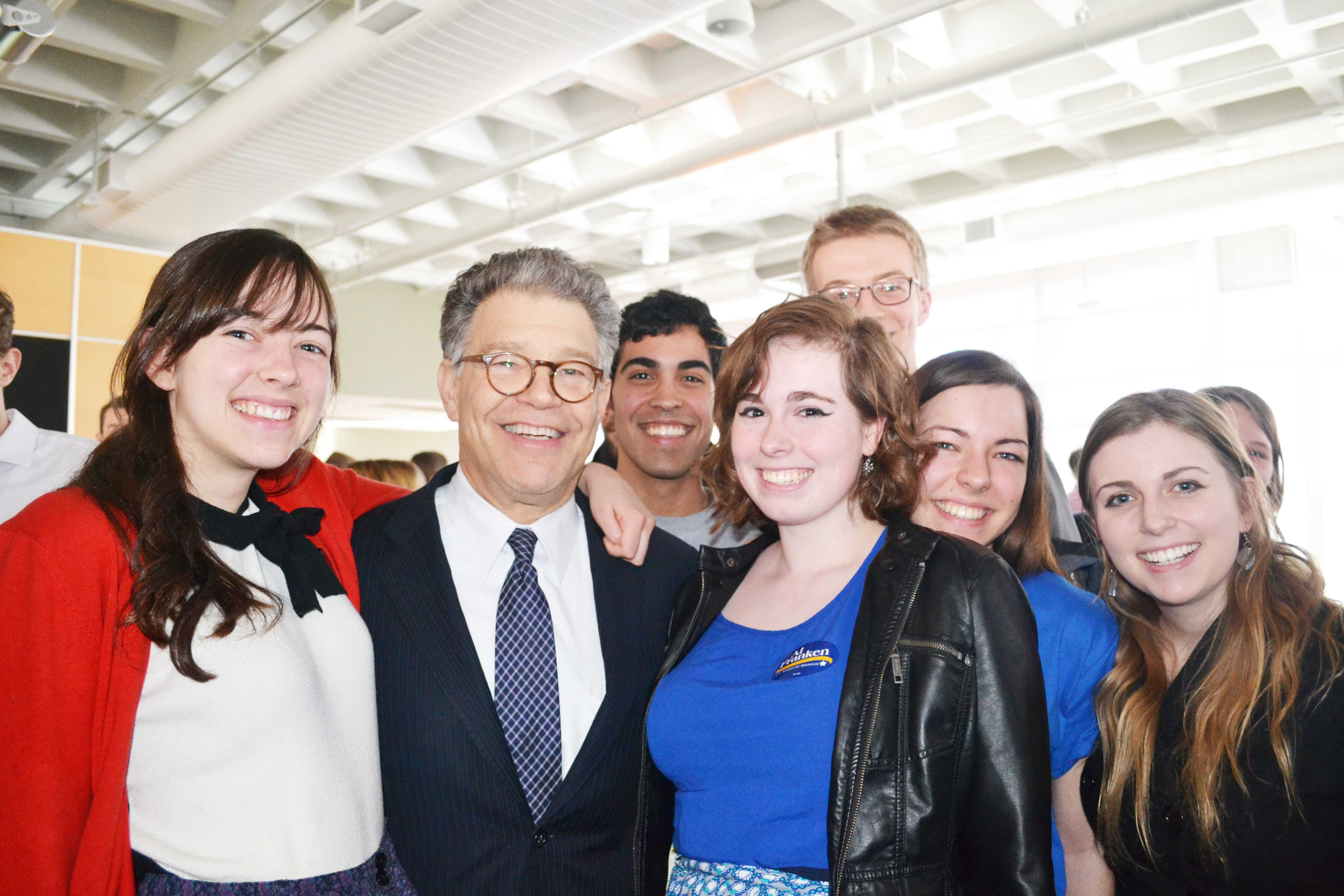 Macalester students meet with Sen. Al Franken after the event. Photos by Maddie Jaffe '17