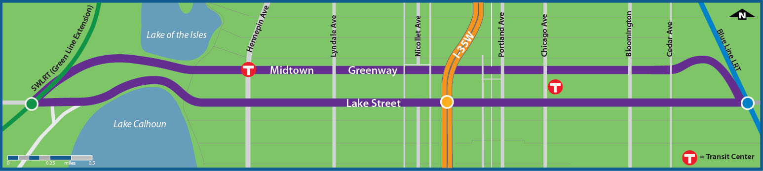 Plans for another line in Midtown Corridor describe it running parallel the Greenway. It should cut down travel time from Lake and Hiawatha significantly. Photo courtesy of Metro Transit.