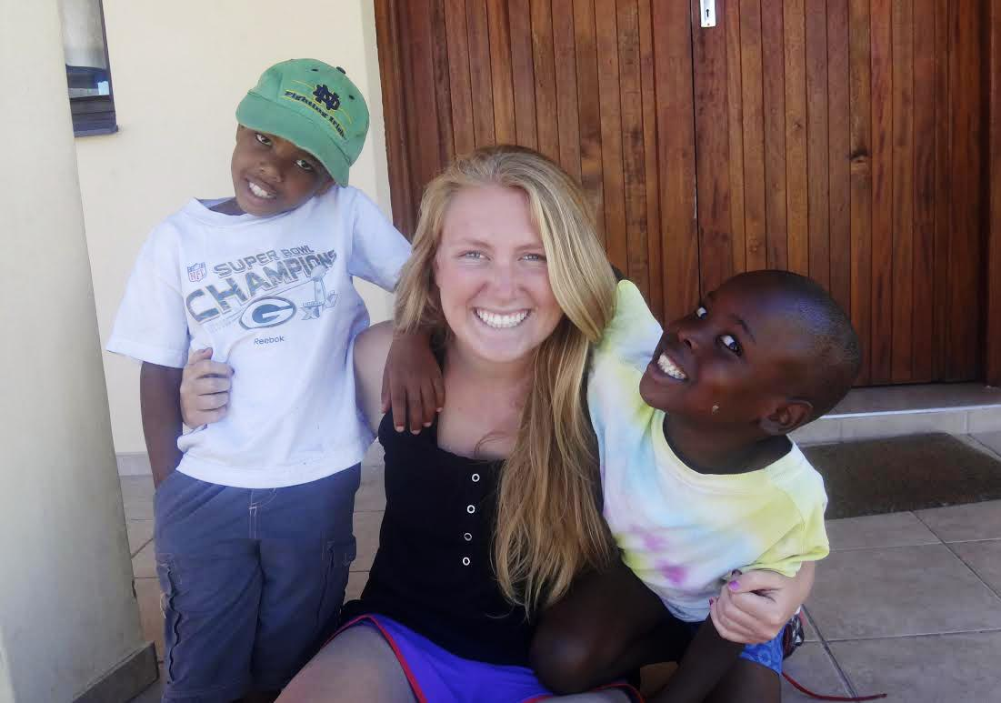 Jessica Yost (center) with two of her students in South Africa. Photo courtesy of Yost.