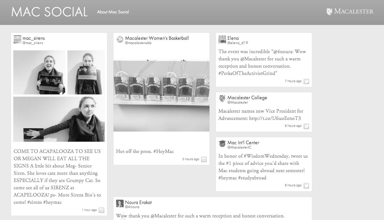 Mac Social aggregates posts from Twitter and Instagram. Photo courtesy of macalester.edu/macsocial