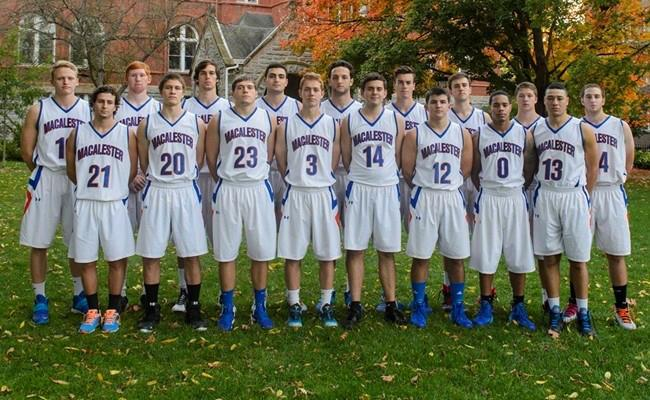 Men's Basketball poses in front of Old Main for its 2014-2015 team picture. Photo courtesy of Macalester College Athletics.