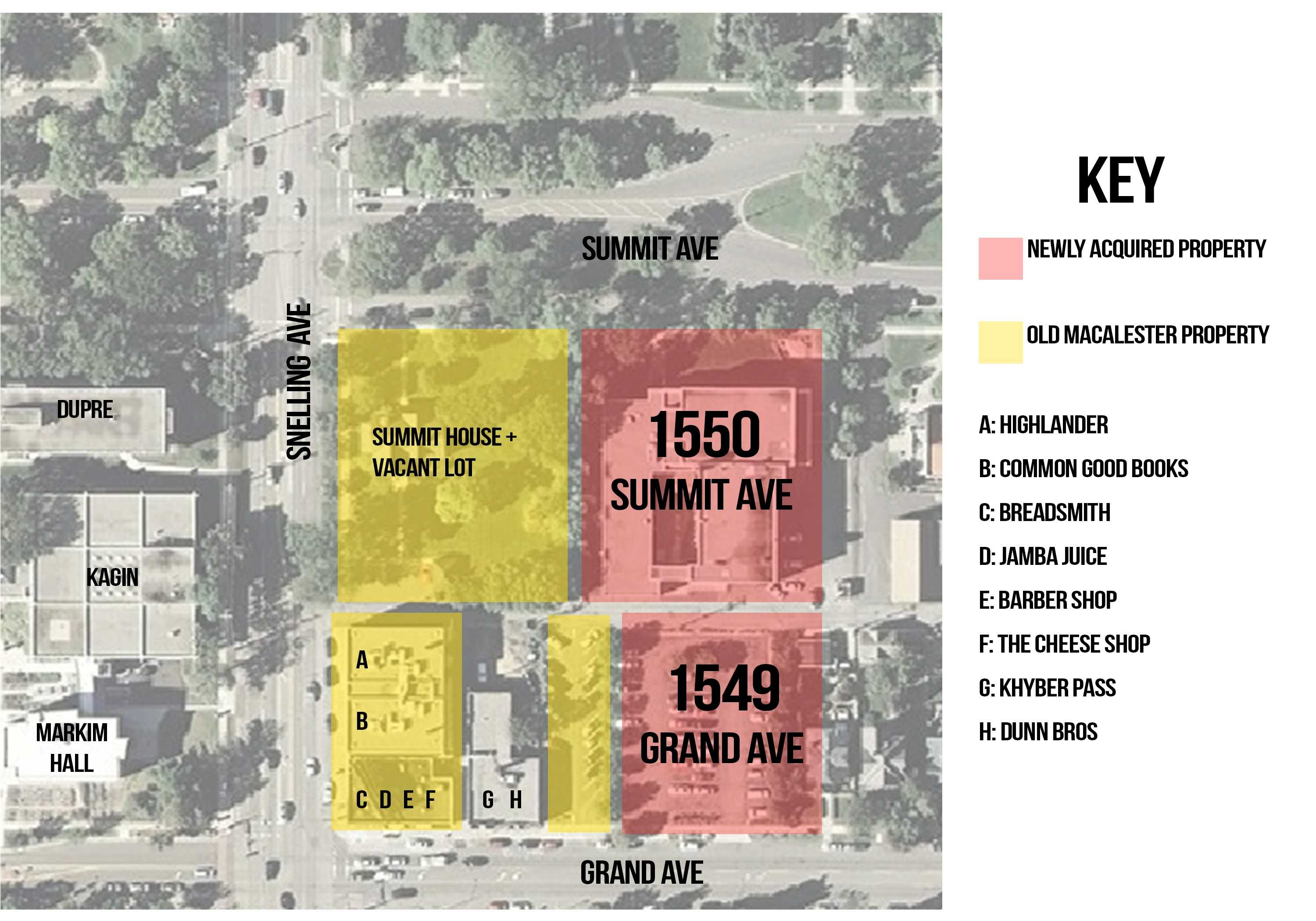 Map of Macalester-owned property between Grand, Summit and Snelling. Graphic by Rachel Wilson'17.