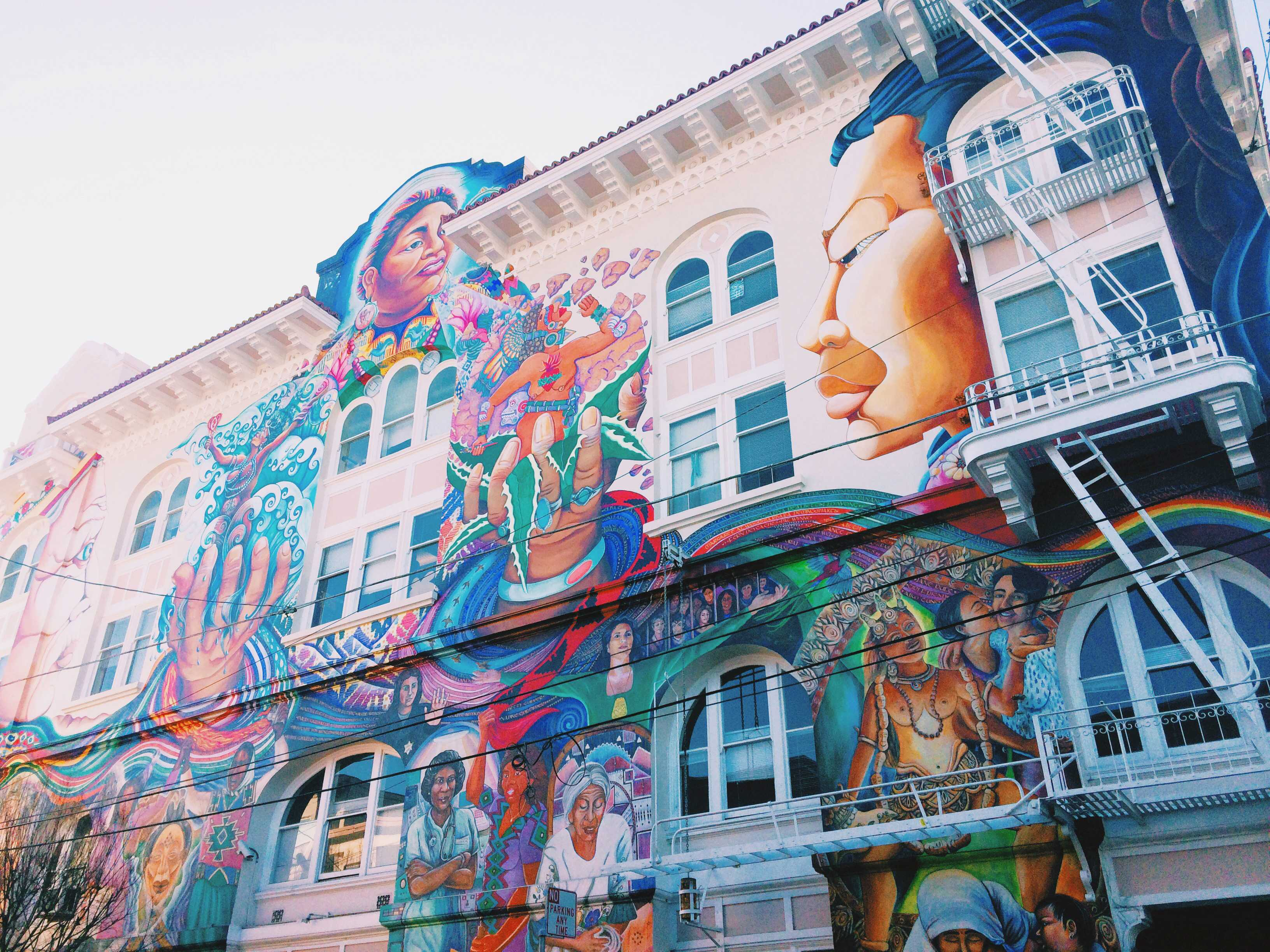 A colorful mural on the side of a building in The Mission.  Photo by Joe Huber'15.