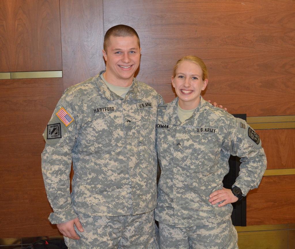 Grace Dickman'17 and Glen Hartford'17 embrace ambitious and exhausting schedules with eyes toward successful military careers. Photo by Anders Voss'16.