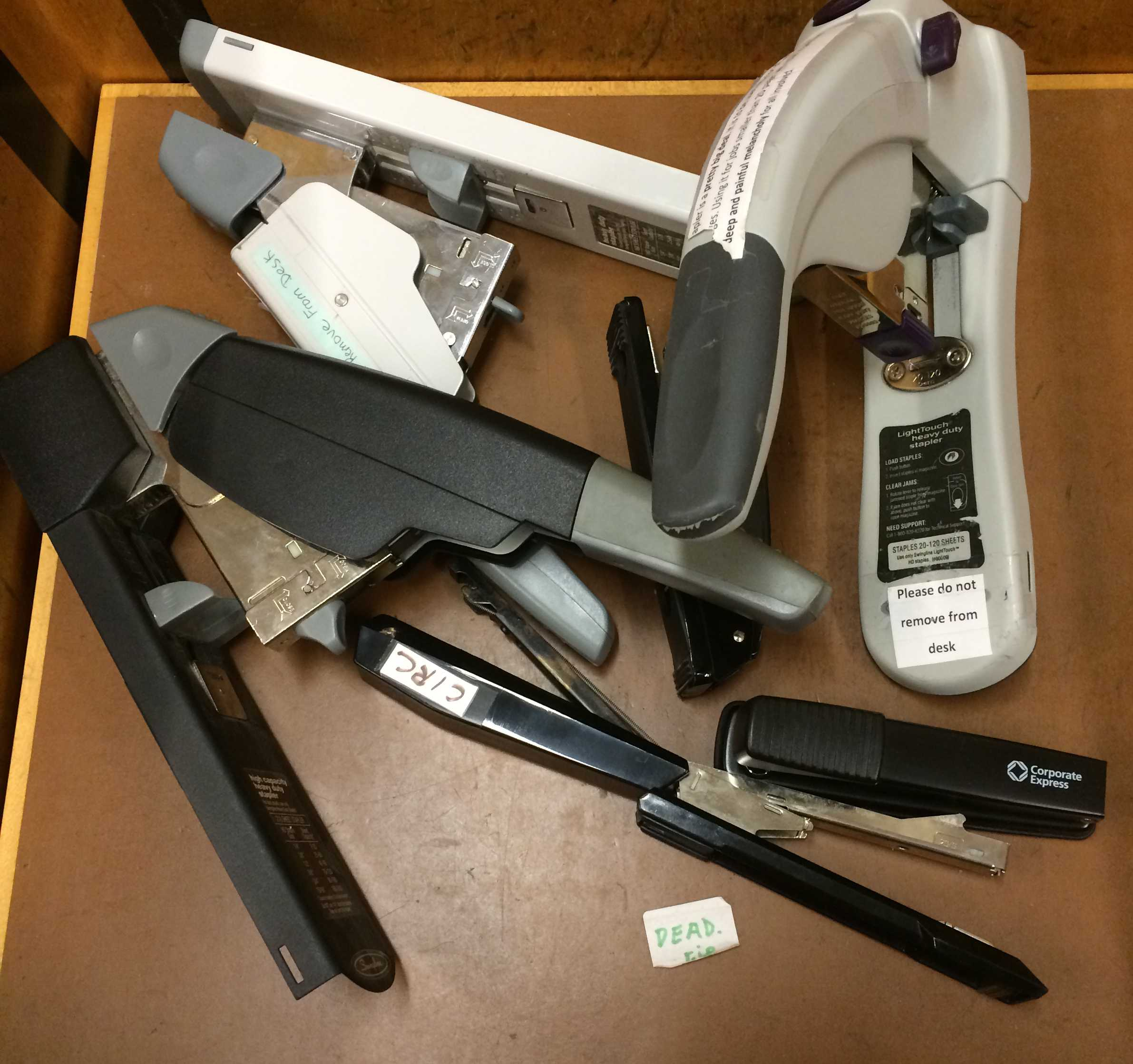 Pictured above are some of the staplers the library has been forced to replace this year. In the midst of student outrage, the library has announced they will continue to provide staplers.