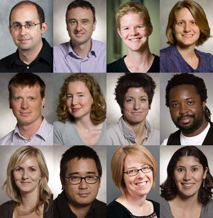 These 12 faculty members have been selected by the Faculty Personnel Committee to recieve tenure. (Top row) Randall Bauer, Andrew Billing, Louisa Bradtmiller, Amy Damon (Middle row) Erik Davis, Susanna Drake, Corie Hammers, Marlon James (Bottom row) Alicia Johnson, John Kim, Victoria Malawey, Alicia Muñoz.