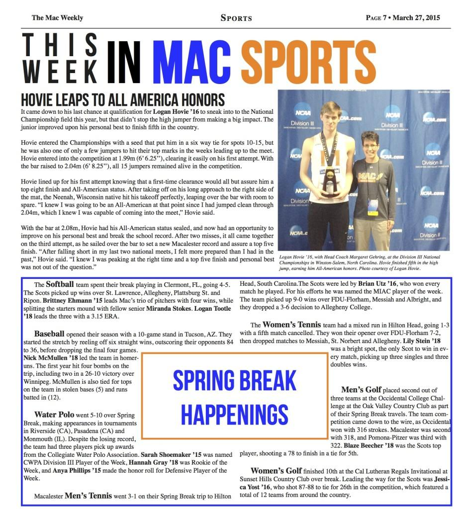 This week in Mac Sports: 3/27/15