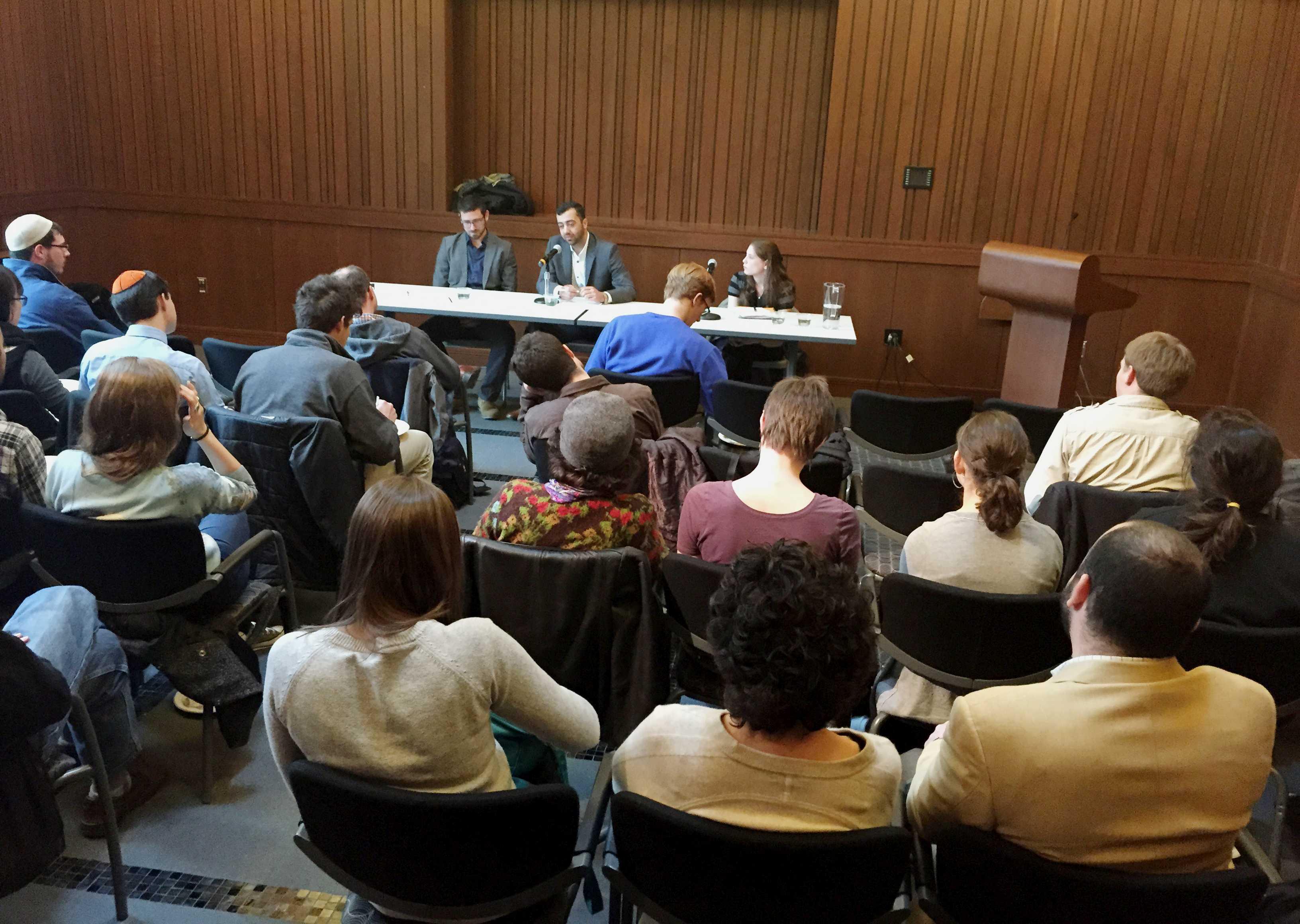 Lior Frankienstzajn and Walid Issa speak at the event. Photo by Joe Klein '16