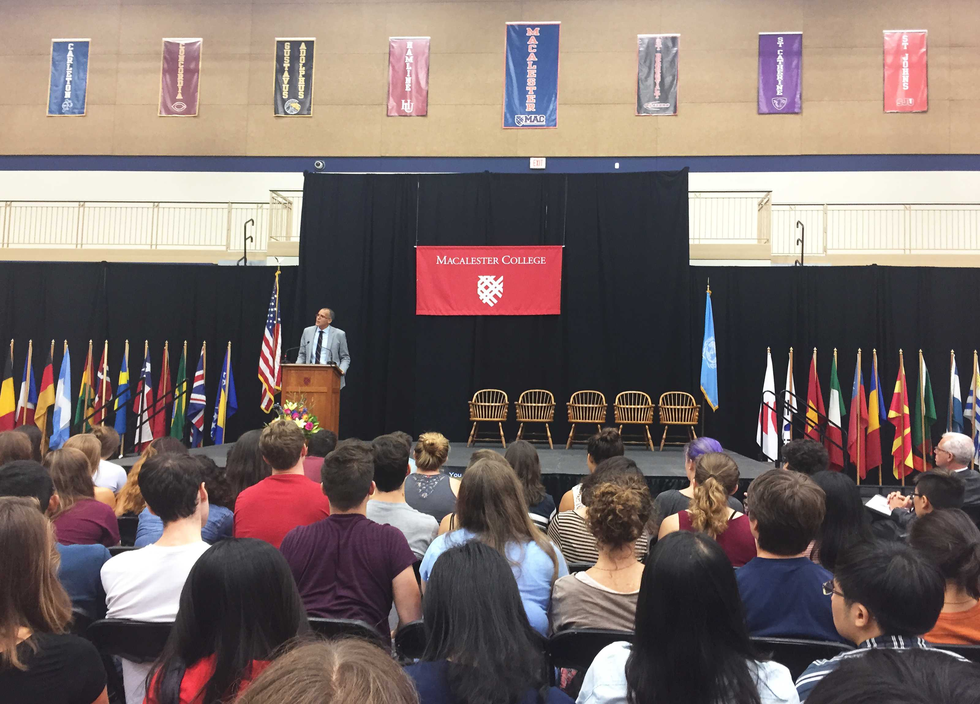 Professor James Forman Jr. spoke to a packed house in the Leonard Center last Thursday at Convocation. Photos by Maya Rait '18.