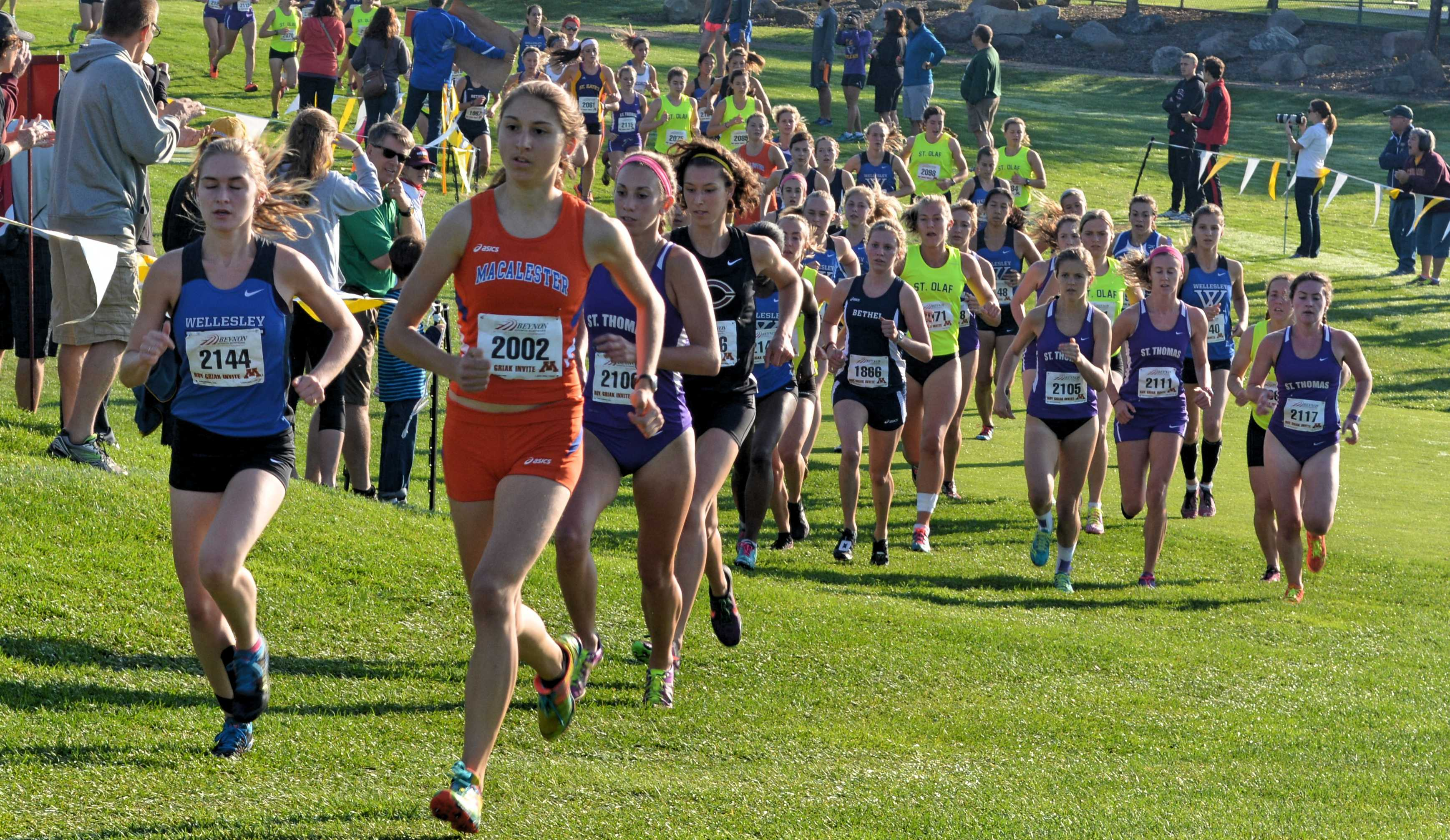 Kimber Meyer '17 won the Griak meet on Saturday, Sept. 26. Her victory is the first ever individual Griak title for a Macalester runner. Meyer won the race by approximately 30 seconds, finishing the six kilometer course in 22:57. Photo by Anders Voss '16.
