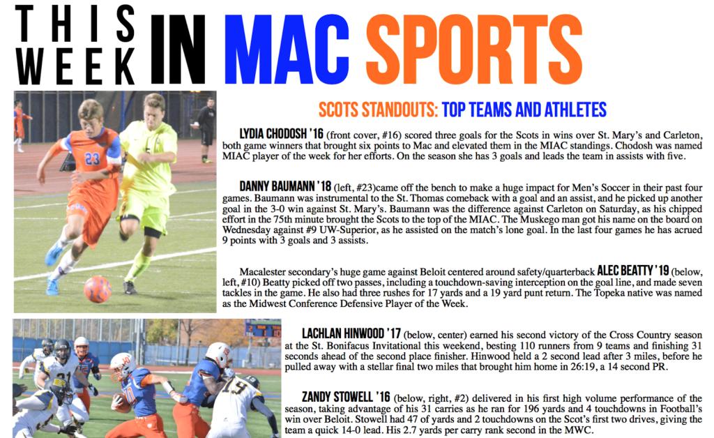 This Week in Mac Sports: 10/23/15