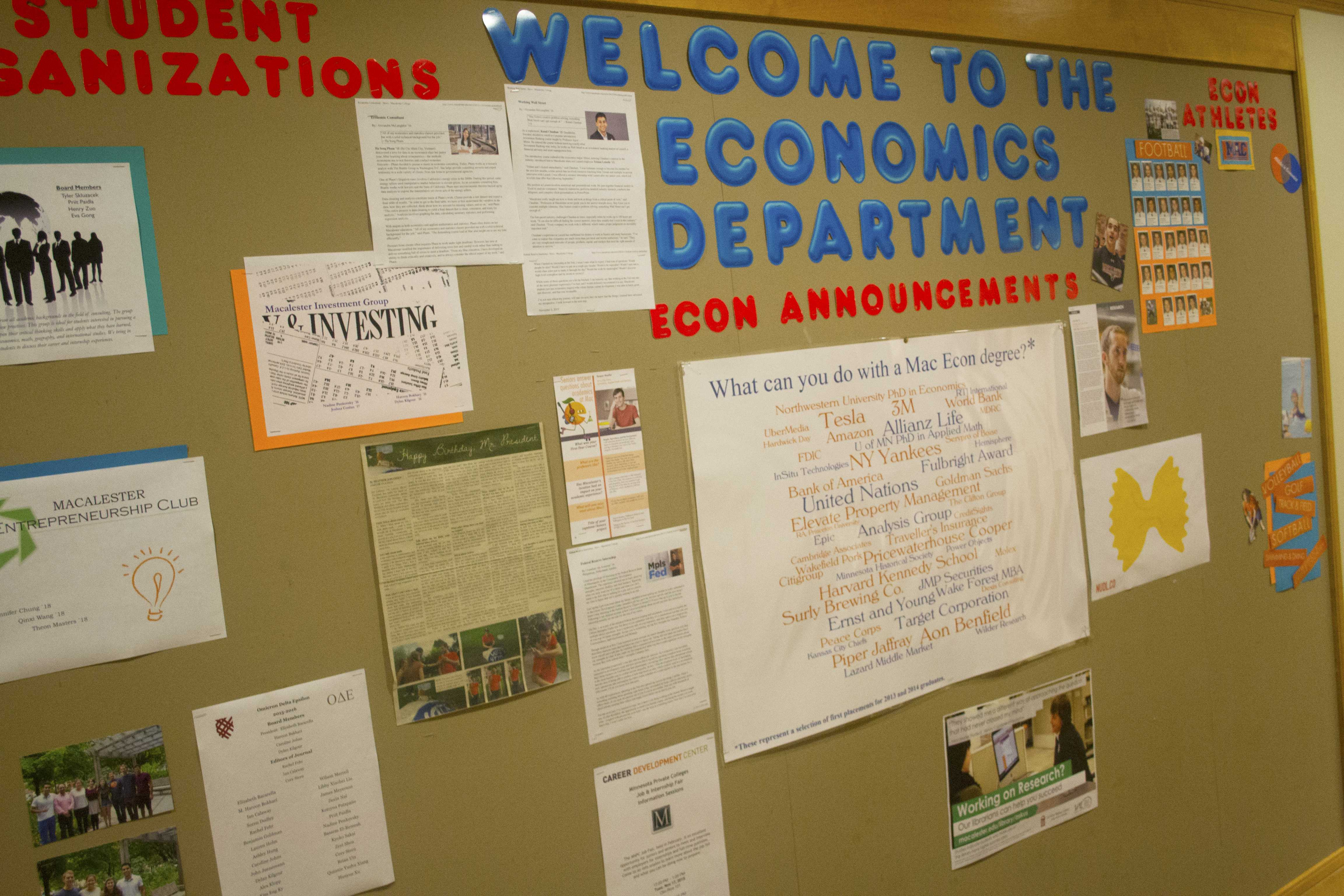 Economics department bulletin board. *Photo by Will Milch '19.*