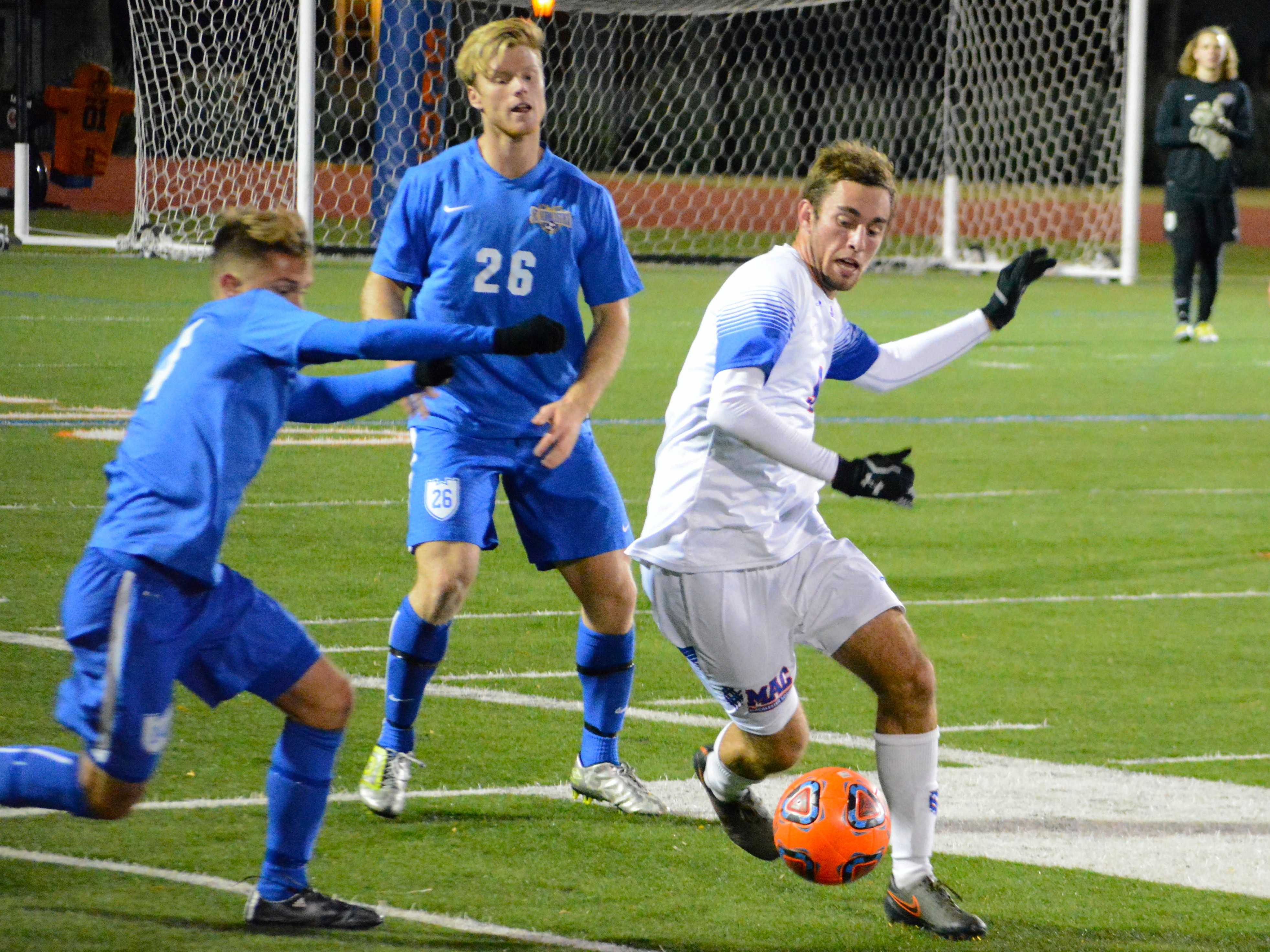 Austin Burrows '17 at Macalester Stadium in the first round of NCAA Tournament. Burrows scored in the 89th minute to send the Scots past St. Scholastica and into the second round. *Photo by Anders Voss '16. *