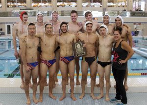 The Men's water polo team with Charlesworth. Photo courtesy of Ben Kromash '16.