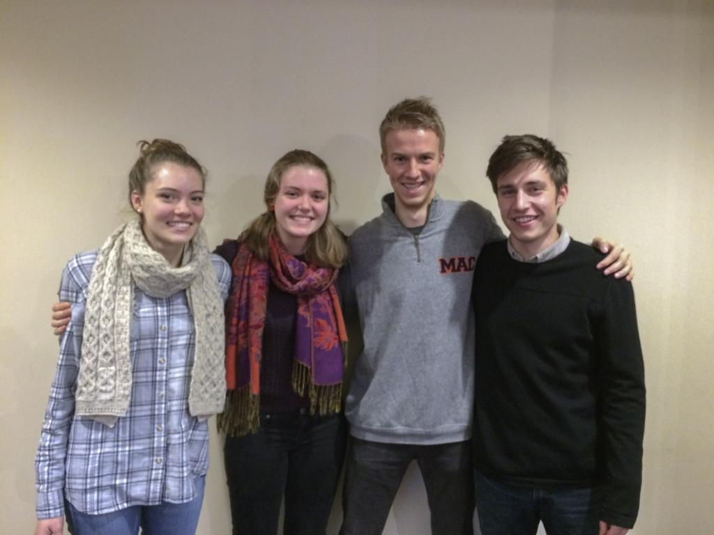 From left: Maggie Lobbig '19, Becca Krasky '19, Gordy Moore '17 and Jack McCarthy '18. Photo by Adrianna Jereb.