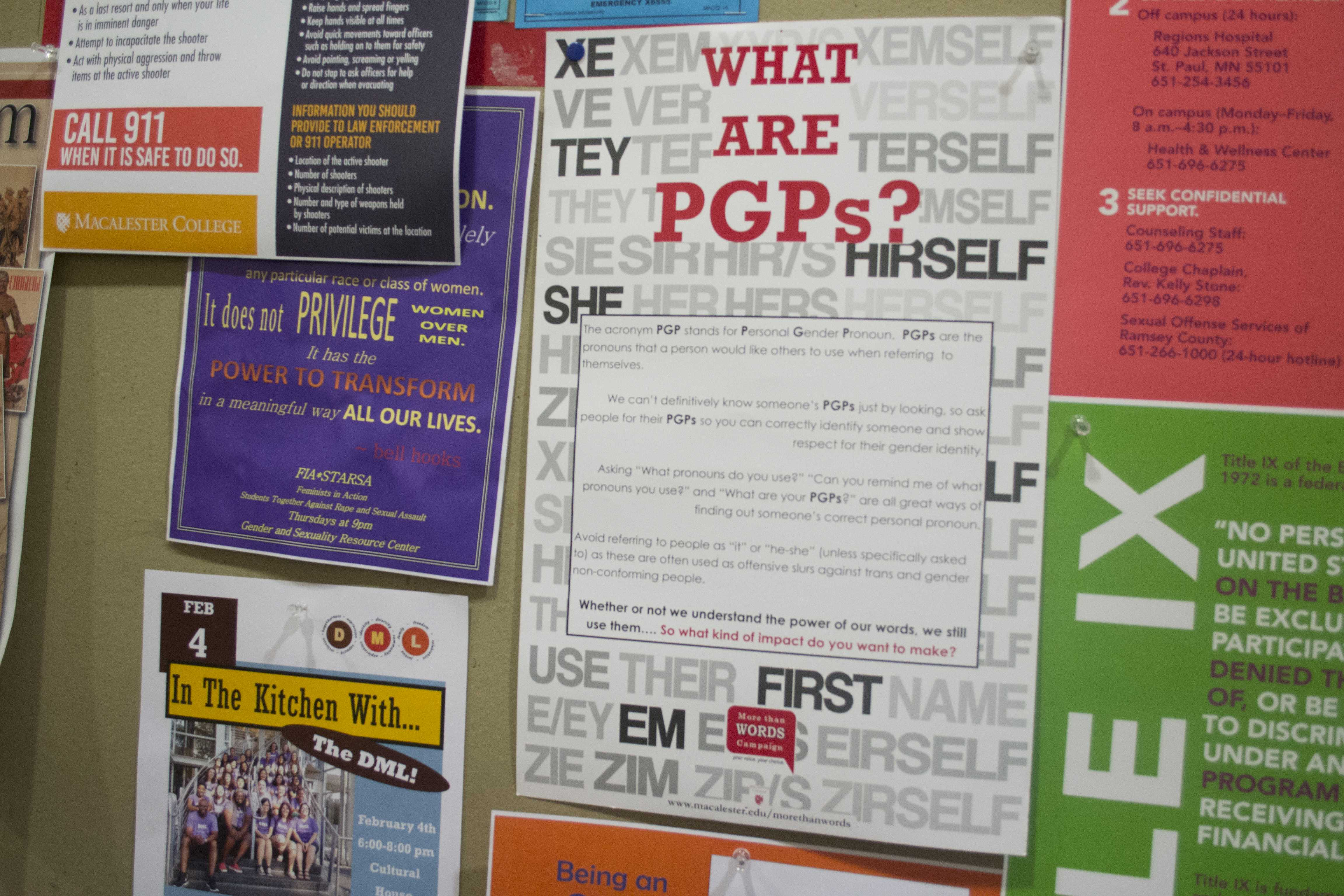Macalester has a number of informative posters on PGPs. Photo by Will Milch '19.