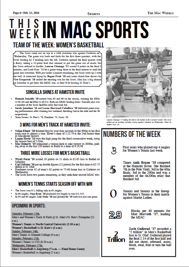 This Week In Mac Sports: 2/12