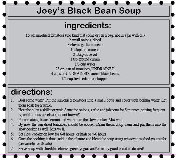 Gastronomi Klonowski: Joey's Black Bean Soup