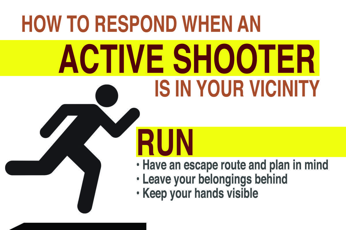 Macalester is implementing new security training for active shooter situations in accordance with a new nation wide policy. Graphic by Maya Rait.