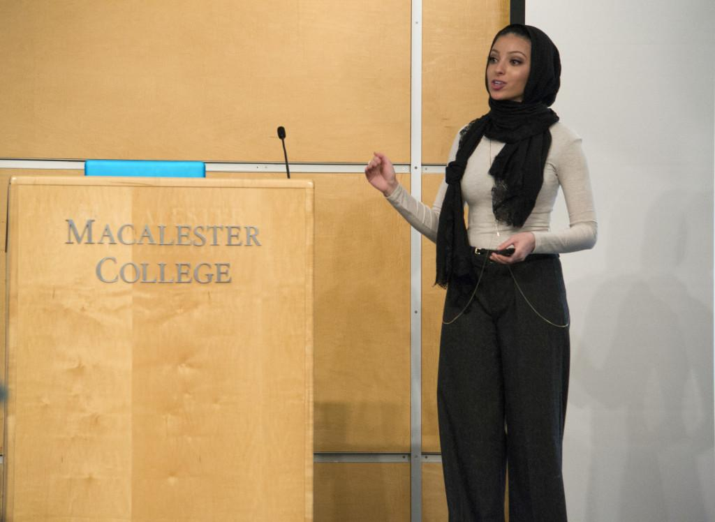 Lectures Coordination Board hosted journalist Noor Tagouri last Thursday, Feb 18. Tagouri has become famous for being the first hijabi journalist on a commercial TV news broadcast. Tagouri spoke about melding her journalistic and hijabi identity.Photo by Will Milch '19.