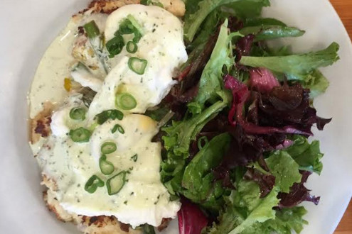 Crab cakes benedict from The Buttered Tin. Photo courtesy of Joe Klein '16.
