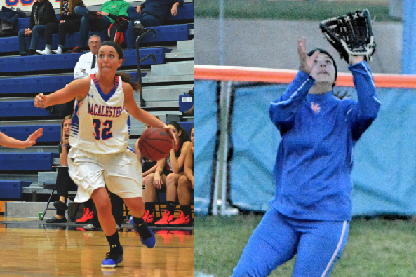 Lauren Clamage '17 (left) and Abby Cox '16 (right) are two of the most consistent female athletes at Macalester. This season, Clamage had a three-point percentage of 39.5. So far this year Cox is batting over .400. Photos courtesy of Anders Voss '16.