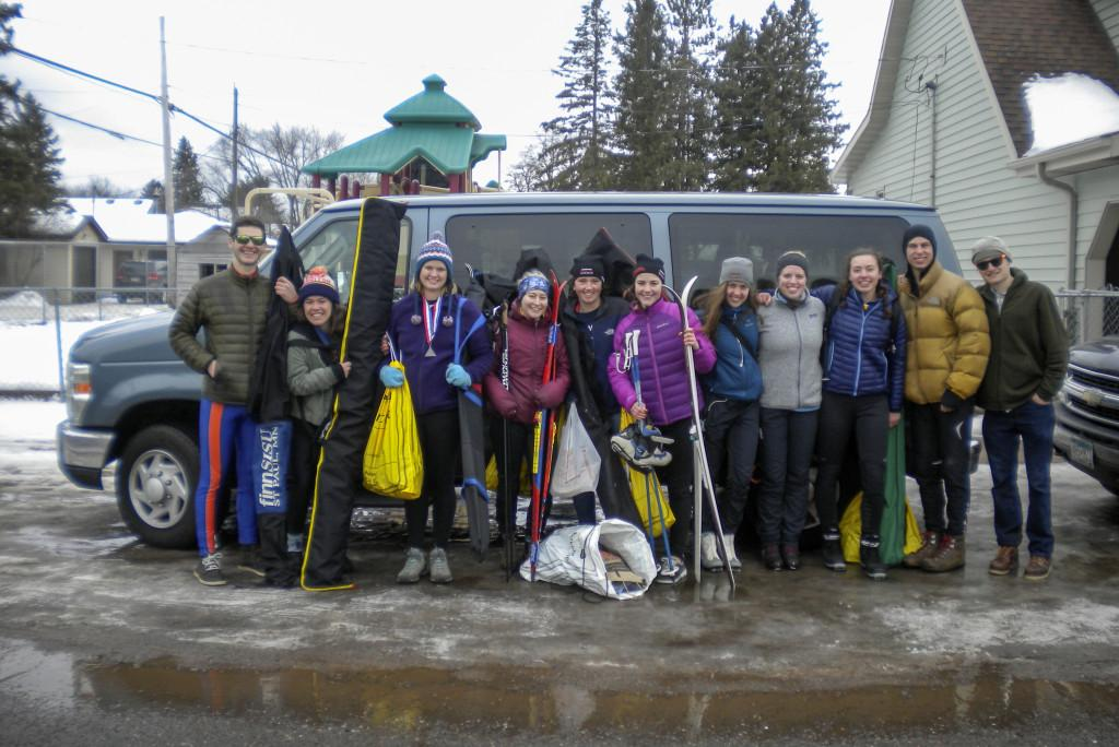 The Nordic Ski Club with their gear. Photo courtesy of Zoe Bowman '16.