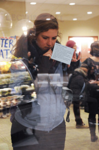 Kelsee York '18 casts her ballot in Minnesota's caucus. Photo by Maya Rait '18.