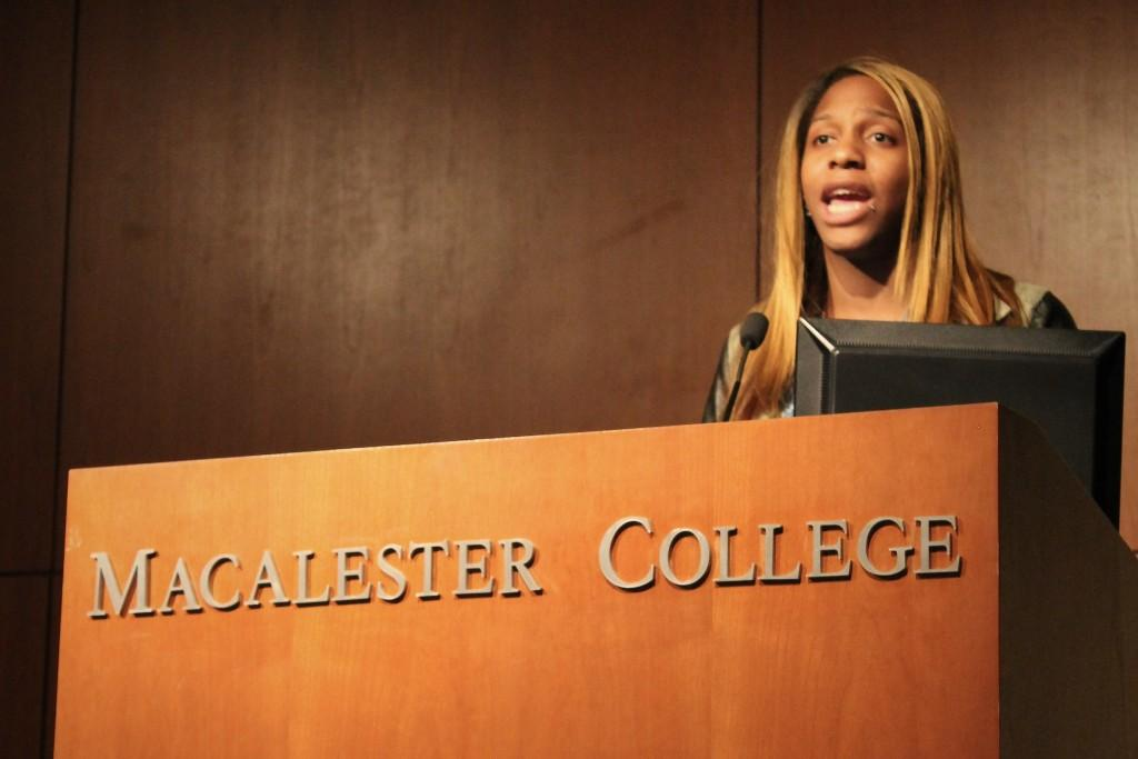 Black trans activist CeCe McDonald was Pride Month's SPEAK! Series speaker. McDonald discussed her experience as an incarerated trans woman, her dedication to protesting all injustice, the importance of recognizing privilege and allyship. Photo by Max Guttman '16.