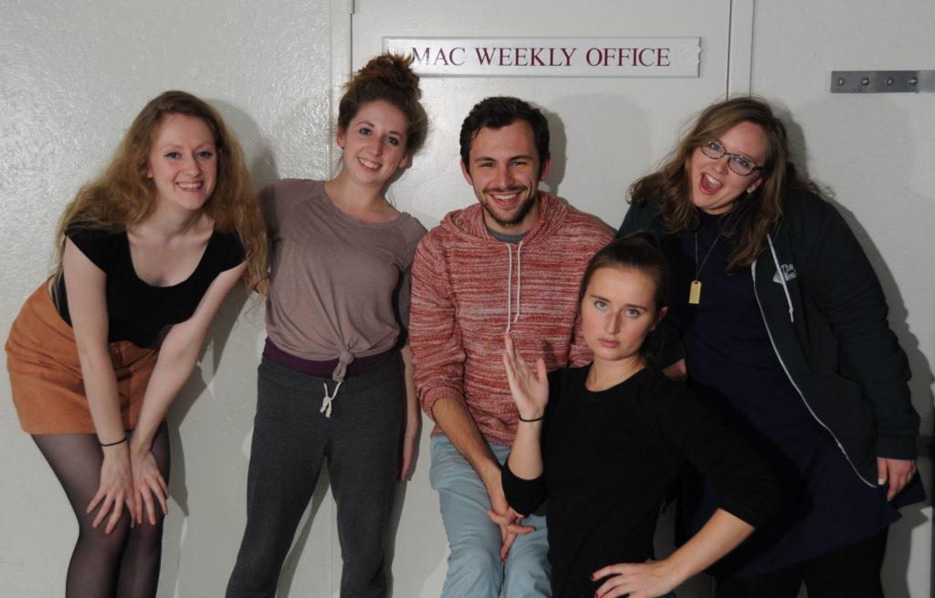 From left to right: Lydia Karlson, Sophie Keane, Joe Klein, Lindsey Smith, and Heather Johansen. Not pictured: Max Guttman. Photo by Maya Rait '18