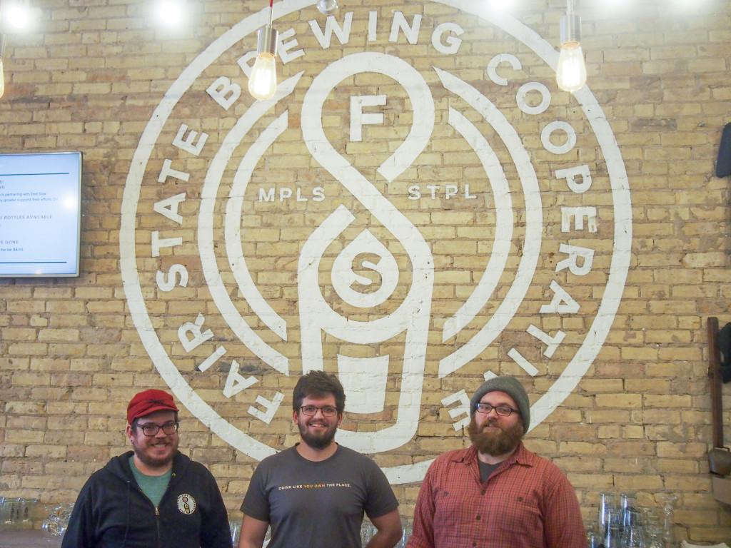 The Fair State taproom with its three co-founders: Matt Hauck '06, Evan Sallee and Niko Tonks. Photo by Jesse Meisenhelter '16.