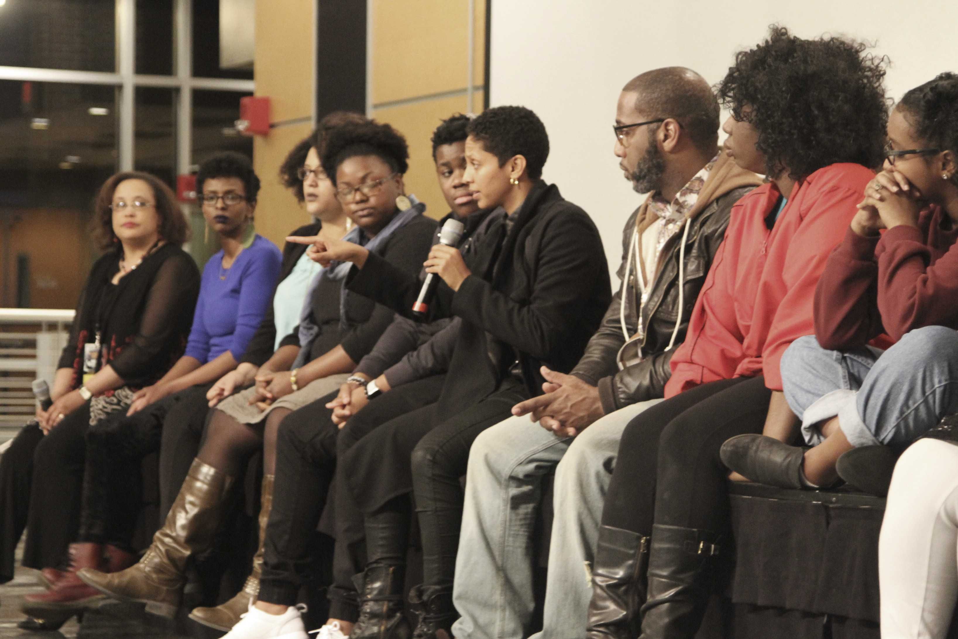 Janaya Khan (center), the founder of the BLM movement in Toronto, Canada, sat alongside leaders of the Minnesota chapter of BLM while they answered students' questions regarding allyship, self-care and the history of activism.            Photo by Henry Nieberg '19.