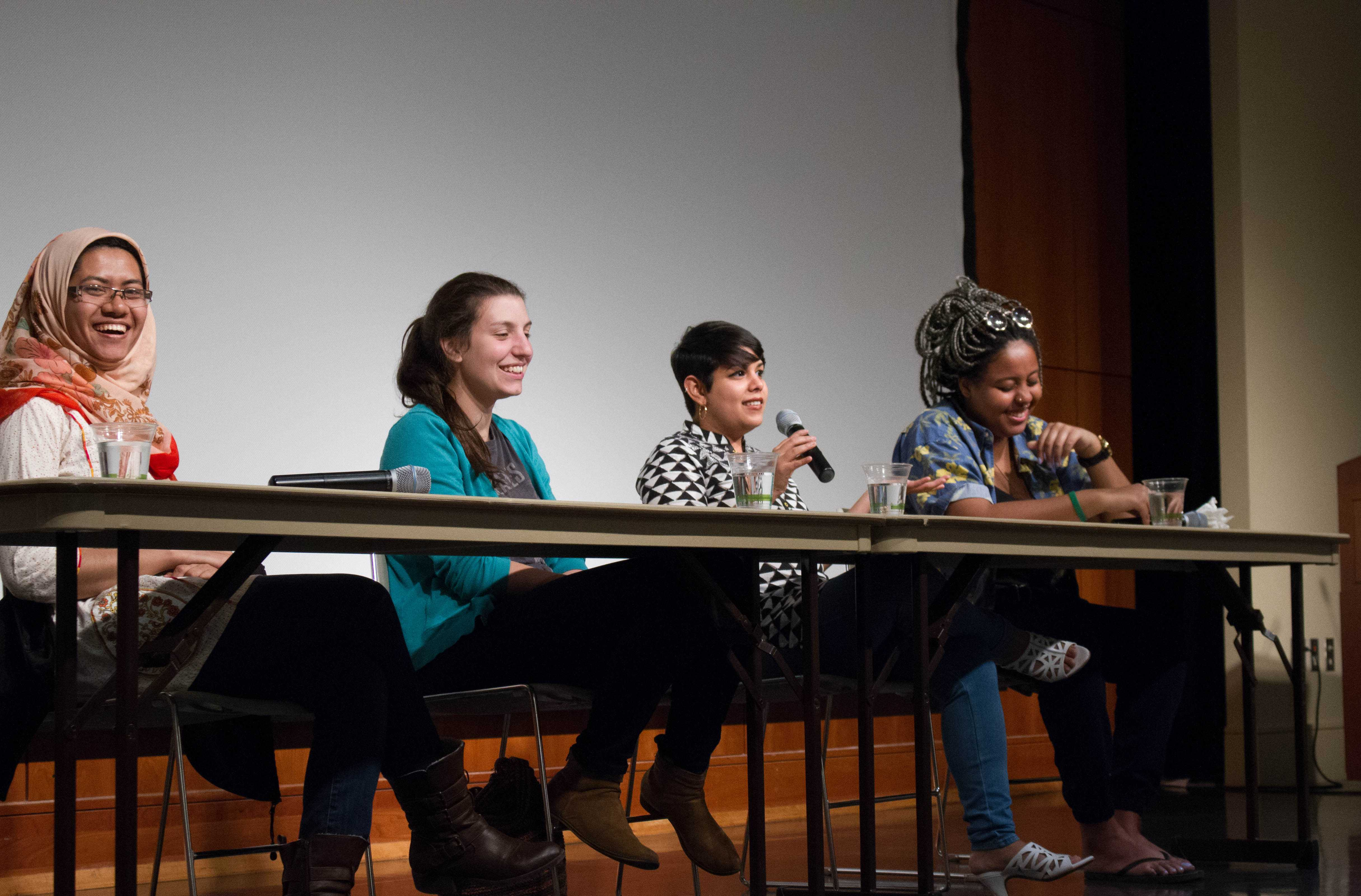 (From left to right) Lutfe-E-Noor Rahman '18, Andrea Grimaldi '16, Nafeesa Dawoodbhoy and Alia Baitie '18 participate as panelists during the fourth annual Menstrual Health Panel hosted by Mac Activists for Reproductive Justice.  Photo by Noah Zwiefel.